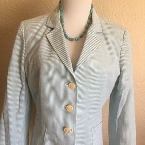 Blue and White J Crew Seersucker Blazer